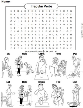 Irregular Verbs Worksheet/ Color-In Word Search