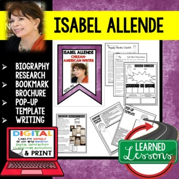 Isabel Allende Biography Research, Bookmark, Pop-Up, Writing