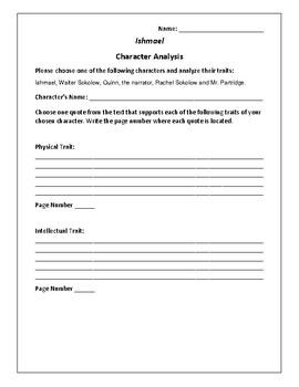 Ishmael - Character Analysis Activity - Daniel Quinn