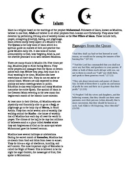 Religions: Islam Reading Summary with Excerpts from the Quran