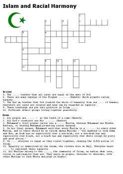 Islam and Racial Harmony Crossword