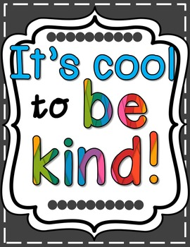 It's Cool to Be Kind Poster - Bright & Cheery