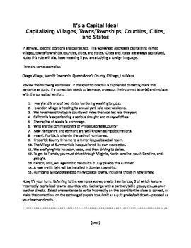 It's a Capital Idea!:  Capitalizing Villages, Townships, C