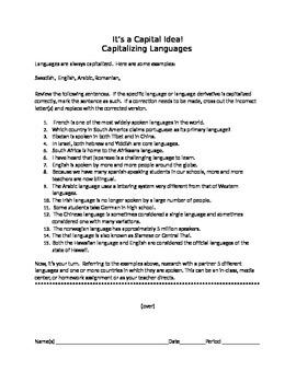 It's a Capital Idea!:  Capitalizing Languages