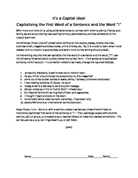 It's a Capital Idea!: Capitalizing the First Word of a Sen