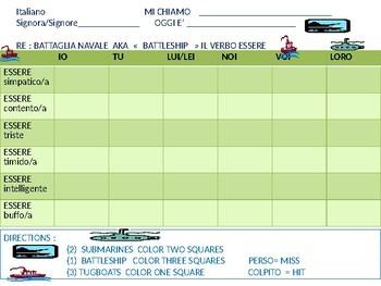 Italian: Battleship game with ESSERE