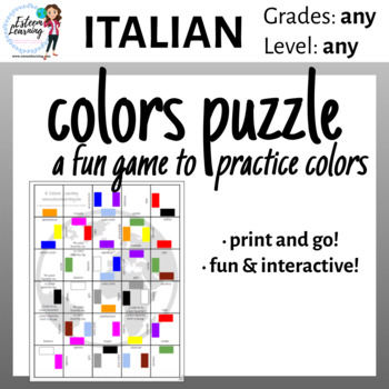 Printable Colors Puzzle Game - Italian