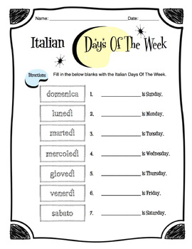 Italian Days of the Week Worksheet Packet