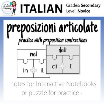 Italian Prepositions Puzzle