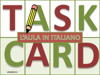Italian Task Cards: L'Aula in Italiano