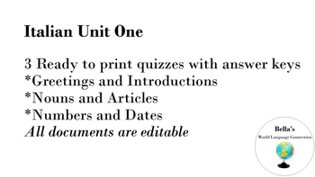 Italian Unit 1 Quizzes and Answer Keys