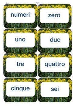 Italian/English number flash cards