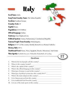 Italy Information & Worksheet