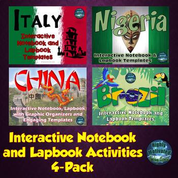 Italy, Nigeria, China, Brazil, Interactive Notebook Activi