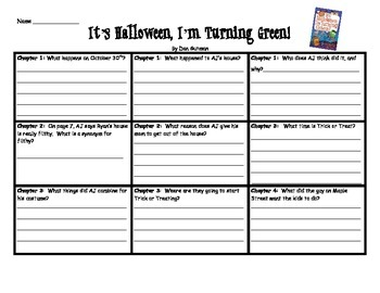 It's Halloween, I'm Turning Green Comprehension chapter chart