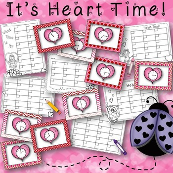 It's Heart Time Valentine's Day Task Cards for Telling Tim