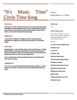 It's Music Time Preschool Circle Time Song Lesson and Sheet Music