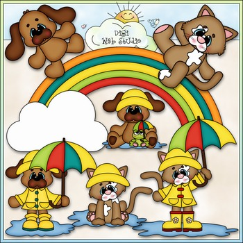 It's Raining Cats & Dogs 1 - Commercial Use Clip Art & Bla