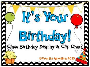 It's Your Birthday! Display & Clip Chart – Black Chevron