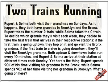 It's the Weekly Puzzla: Two Trains Running