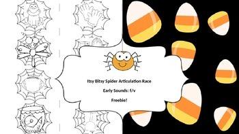 Itsy Bitsy Spider Articulation Race: /f/ & /v/ Freebie!