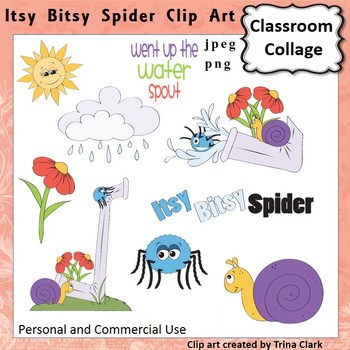 Itsy Bitsy Spider Clip Art - Color - pers & comm use Nurse