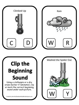 Itsy Bitsy Spider themed Beginning Sounds Clip it Cards pr