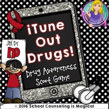 itune Out Drugs: Draw Awareness Scoot Game (Great for Red