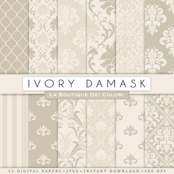 Ivory Damask Digital Paper, scrapbook backgrounds