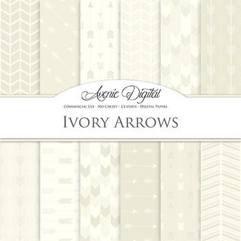 Ivory Digital Paper patterns tribal arrows off white scrap