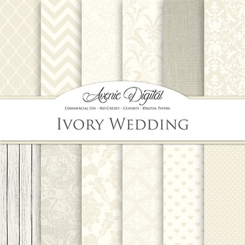 Ivory Wedding Digital Paper patterns - off white save the