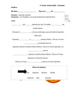 Spanish directional words- Izquierda, Derecha - song by Lo