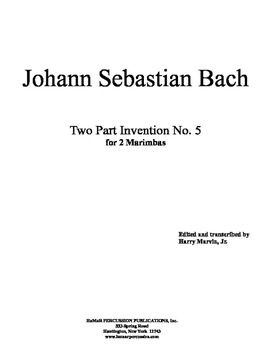 J. Bach 2 Part Inventiond for Mallet Percussion