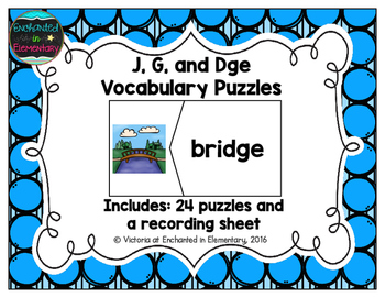 J, G, and Dge Vocabulary Puzzles