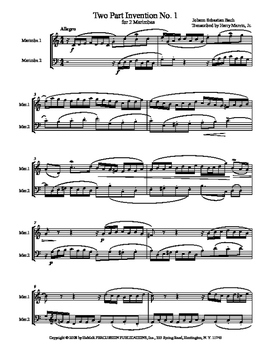 J. S. Bach 2 Part Invention Duets (nos. 1-15) for Mallet P