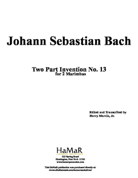 J. S. Bach 2 Part Inventions for Mallet Percussion (nos, 13-15)