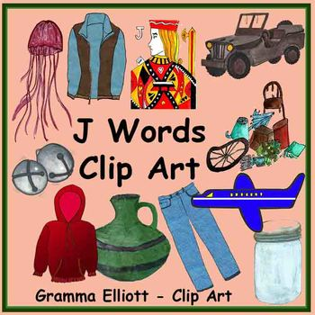 J Words Clip Art Realistic Color -  BW - Silhouettes - 300 DPi