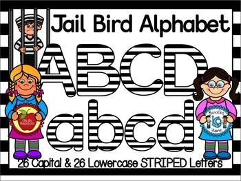 JAIL BIRD -BLACK & WHITE STRIPED CLIP ART LETTERS- 52 LETT