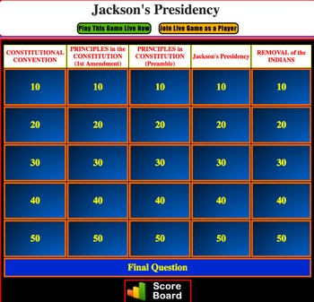 JEOPARDY REVIEW:  Jackson Presidency & Removal of Indians