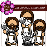 JESUS GOOD SHEPHERD Digital Clipart (color and black&white)