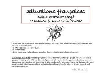 JEU : Situations françaises Saluer et prendre congé