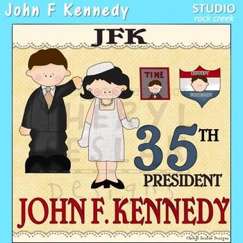 JFK John F Kennedy US History Color Clip Art  C. Seslar