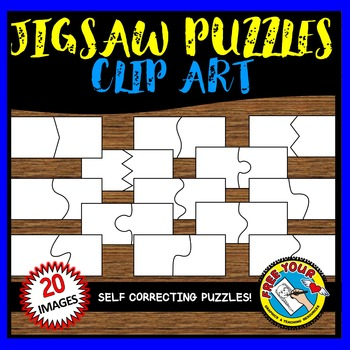 JIGSAW PUZZLES CLIPART: 20 SELF CORRECTING PUZZLE TEMPLATES