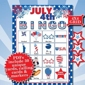 JULY 4th 4x4  BINGO
