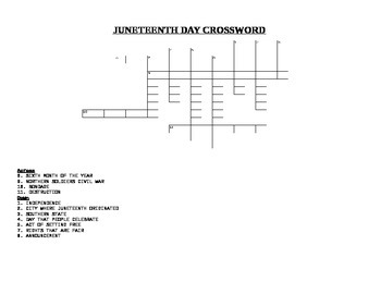 JUNETEENTH CROSSWORD PUZZLE WITH ANSWER KEY
