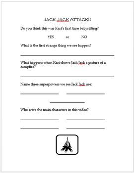 Jack Jack Attack! Disney Short Companion Worksheet