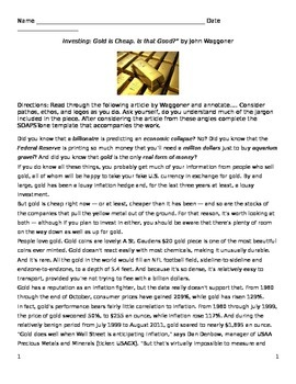 """Jack London: Informational Text - """"Investing: Gold is Chea"""