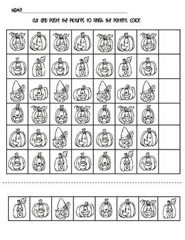 Jack-O-Lantern Halloween Patterning Worksheet FREEBIE