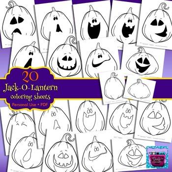 Halloween (Jack-O-Lantern and Pumpkin) Coloring Sheets