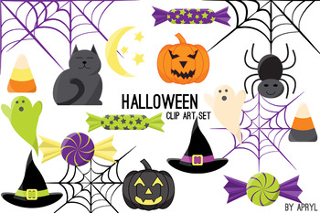 Halloween Clip Art PNG Commercial Use Pumpkin Cat Bat Cand